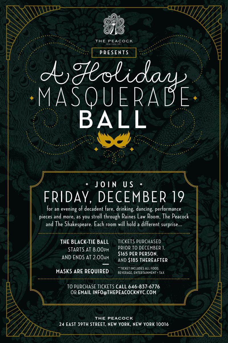 A Holiday Masquerade Ball At The Peacock New York City