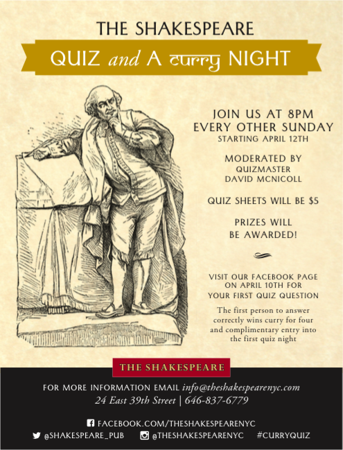 Quiz & Curry Shakespeare