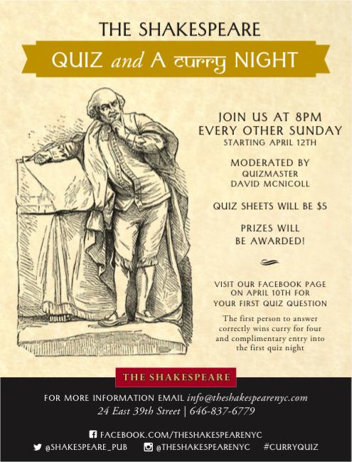 Quiz & Curry Shakespeare