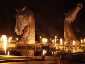 Kelpies bathed in Gold